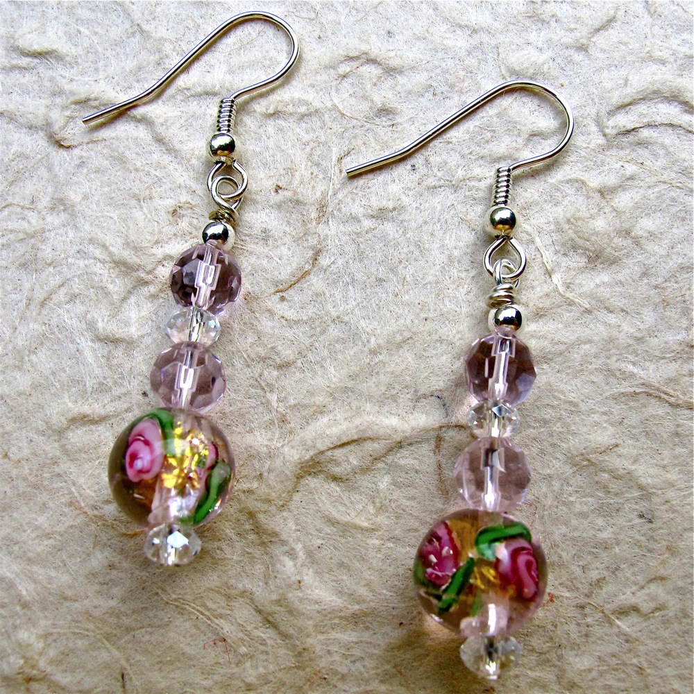 beads merlot and earrings bead glass crafted product green hand